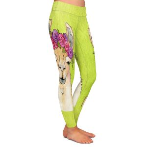 Casual Comfortable Leggings | Marley Ungaro - Garland Llama Lime | watercolor animal