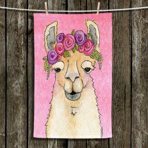 Unique Hanging Tea Towels | Marley Ungaro - Garland Llama Lt Pink | watercolor animal