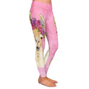 Casual Comfortable Leggings | Marley Ungaro - Garland Llama Lt Pink | watercolor animal