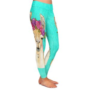 Casual Comfortable Leggings | Marley Ungaro - Garland Llama Turquoise | watercolor animal