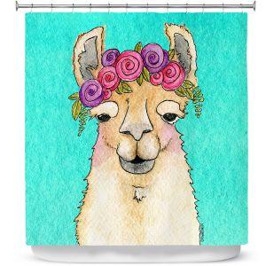 Premium Shower Curtains | Marley Ungaro - Garland Llama Turquoise | watercolor animal