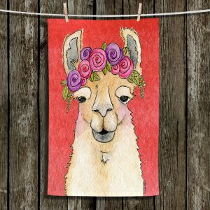 Unique Hanging Tea Towels | Marley Ungaro - Garland Llama Watermelon | watercolor animal
