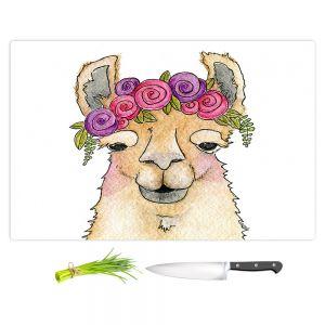 Artistic Kitchen Bar Cutting Boards | Marley Ungaro - Garland Llama White | watercolor animal