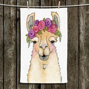 Unique Hanging Tea Towels | Marley Ungaro - Garland Llama White | watercolor animal