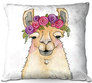 Throw Pillows Decorative Artistic | Marley Ungaro - Garland Llama White | watercolor animal