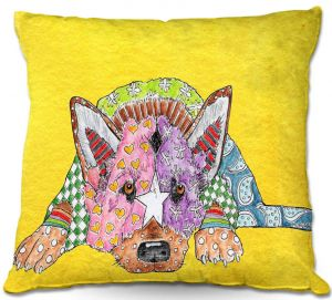 Throw Pillows Decorative Artistic | Marley Ungaro German Shepherd Dog Yellow