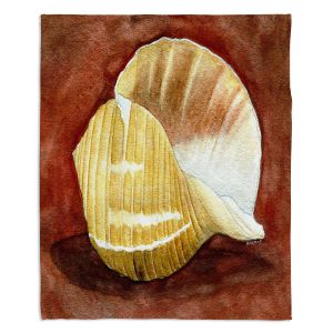 Decorative Fleece Throw Blankets | Marley Ungaro - Giant Tun | Ocean seashell still life nature