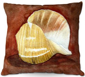 Decorative Outdoor Patio Pillow Cushion | Marley Ungaro - Giant Tun | Ocean seashell still life nature