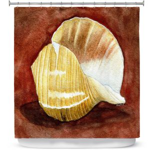 Premium Shower Curtains | Marley Ungaro - Giant Tun | Ocean seashell still life nature
