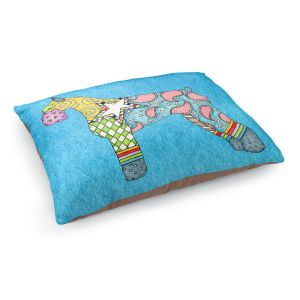 Decorative Dog Pet Beds | Marley Ungaro - Giant Schnauzer Aqua | Dog animal pattern abstract whimsical