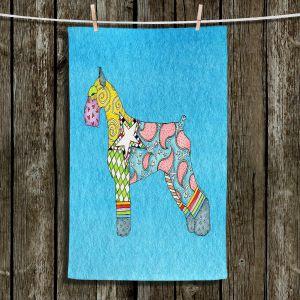 Unique Bathroom Towels   Marley Ungaro - Giant Schnauzer Aqua   Dog animal pattern abstract whimsical