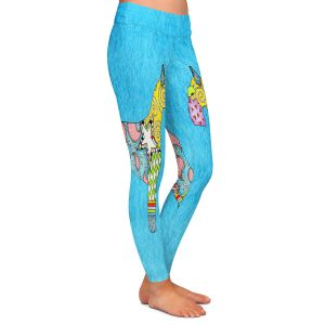 Casual Comfortable Leggings | Marley Ungaro - Giant Schnauzer Aqua | Dog animal pattern abstract whimsical