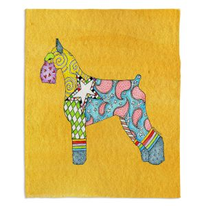 Artistic Sherpa Pile Blankets | Marley Ungaro - Giant Schnauzer Gold | Dog animal pattern abstract whimsical