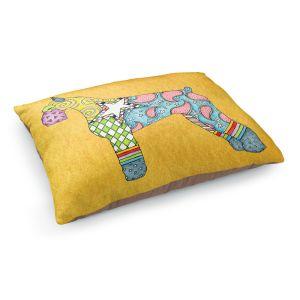 Decorative Dog Pet Beds   Marley Ungaro - Giant Schnauzer Gold   Dog animal pattern abstract whimsical