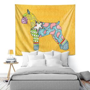 Artistic Wall Tapestry | Marley Ungaro - Giant Schnauzer Gold | Dog animal pattern abstract whimsical