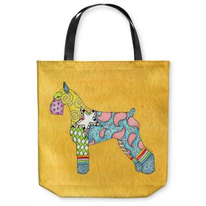 Unique Shoulder Bag Tote Bags | Marley Ungaro - Giant Schnauzer Gold | Dog animal pattern abstract whimsical
