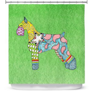 Premium Shower Curtains | Marley Ungaro - Giant Schnauzer Green | Dog animal pattern abstract whimsical