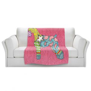 Artistic Sherpa Pile Blankets   Marley Ungaro - Giant Schnauzer Pink   Dog animal pattern abstract whimsical