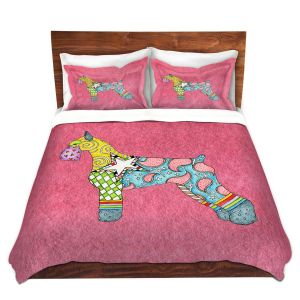 Artistic Duvet Covers and Shams Bedding | Marley Ungaro - Giant Schnauzer Pink | Dog animal pattern abstract whimsical
