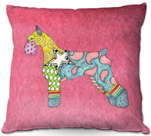 Throw Pillows Decorative Artistic   Marley Ungaro - Giant Schnauzer Pink   Dog animal pattern abstract whimsical