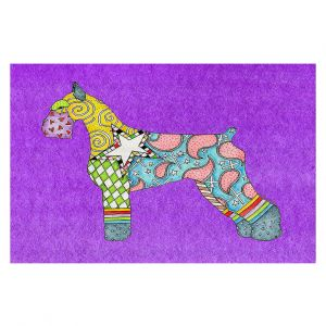 Decorative Floor Covering Mats | Marley Ungaro - Giant Schnauzer Purple | Dog animal pattern abstract whimsical