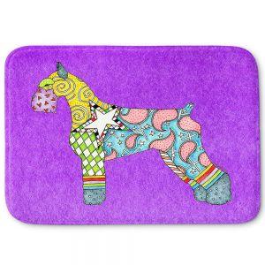 Decorative Bathroom Mats | Marley Ungaro - Giant Schnauzer Purple | Dog animal pattern abstract whimsical