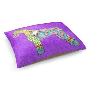 Decorative Dog Pet Beds | Marley Ungaro - Giant Schnauzer Purple | Dog animal pattern abstract whimsical