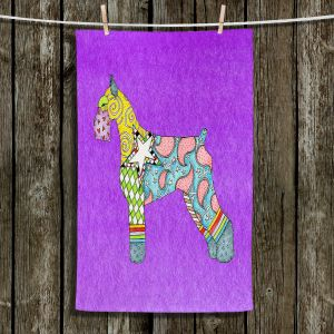 Unique Hanging Tea Towels | Marley Ungaro - Giant Schnauzer Purple | Dog animal pattern abstract whimsical