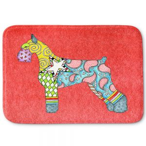 Decorative Bathroom Mats | Marley Ungaro - Giant Schnauzer Watermelon | Dog animal pattern abstract whimsical