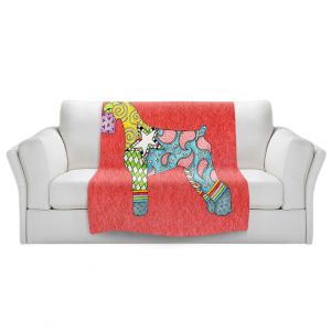 Artistic Sherpa Pile Blankets   Marley Ungaro - Giant Schnauzer Watermelon   Dog animal pattern abstract whimsical