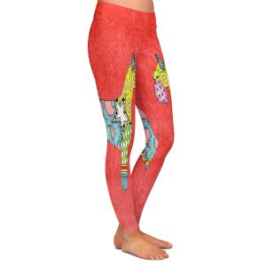 Casual Comfortable Leggings | Marley Ungaro - Giant Schnauzer Watermelon | Dog animal pattern abstract whimsical