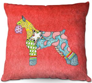 Decorative Outdoor Patio Pillow Cushion | Marley Ungaro - Giant Schnauzer Watermelon | Dog animal pattern abstract whimsical