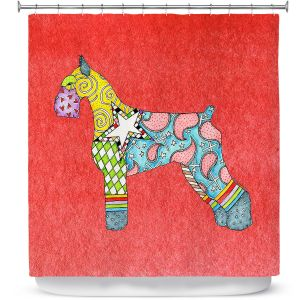 Premium Shower Curtains | Marley Ungaro - Giant Schnauzer Watermelon | Dog animal pattern abstract whimsical