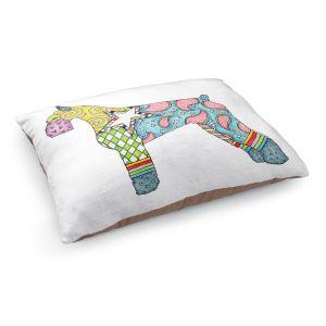 Decorative Dog Pet Beds   Marley Ungaro - Giant Schnauzer White   Dog animal pattern abstract whimsical
