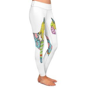 Casual Comfortable Leggings | Marley Ungaro - Giant Schnauzer White | Dog animal pattern abstract whimsical