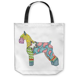 Unique Shoulder Bag Tote Bags   Marley Ungaro - Giant Schnauzer White   Dog animal pattern abstract whimsical