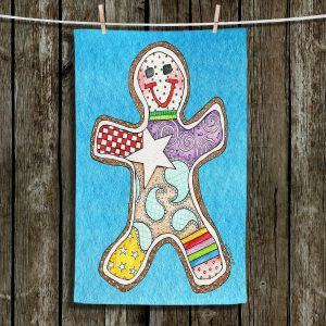 Unique Hanging Tea Towels | Marley Ungaro - Gingerbread Aqua | Gingerbread Man Holidays Christmas Childlike