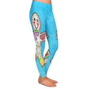 Casual Comfortable Leggings | Marley Ungaro - Gingerbread Aqua | Gingerbread Man Holidays Christmas Childlike