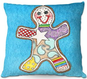Decorative Outdoor Patio Pillow Cushion | Marley Ungaro - Gingerbread Aqua | Gingerbread Man Holidays Christmas Childlike