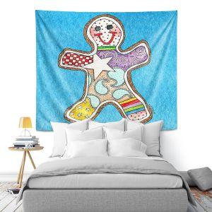 Artistic Wall Tapestry | Marley Ungaro - Gingerbread Aqua | Gingerbread Man Holidays Christmas Childlike