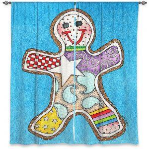Decorative Window Treatments   Marley Ungaro - Gingerbread Aqua   Gingerbread Man Holidays Christmas Childlike