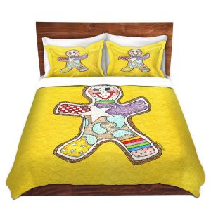Artistic Duvet Covers and Shams Bedding | Marley Ungaro - Gingerbread Gold | Gingerbread Man Holidays Christmas Childlike