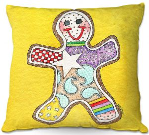 Decorative Outdoor Patio Pillow Cushion | Marley Ungaro - Gingerbread Gold | Gingerbread Man Holidays Christmas Childlike