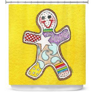 Premium Shower Curtains | Marley Ungaro - Gingerbread Gold | Gingerbread Man Holidays Christmas Childlike