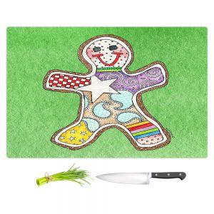Artistic Kitchen Bar Cutting Boards | Marley Ungaro - Gingerbread Green | Gingerbread Man Holidays Christmas Childlike