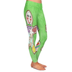 Casual Comfortable Leggings | Marley Ungaro - Gingerbread Green | Gingerbread Man Holidays Christmas Childlike
