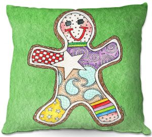 Decorative Outdoor Patio Pillow Cushion | Marley Ungaro - Gingerbread Green | Gingerbread Man Holidays Christmas Childlike