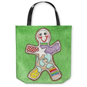 Unique Shoulder Bag Tote Bags | Marley Ungaro - Gingerbread Green | Gingerbread Man Holidays Christmas Childlike