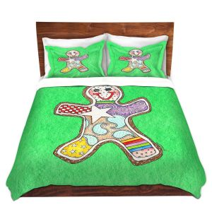 Artistic Duvet Covers and Shams Bedding | Marley Ungaro - Gingerbread Kelly | Gingerbread Man Holidays Christmas Childlike