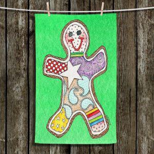 Unique Hanging Tea Towels | Marley Ungaro - Gingerbread Kelly | Gingerbread Man Holidays Christmas Childlike